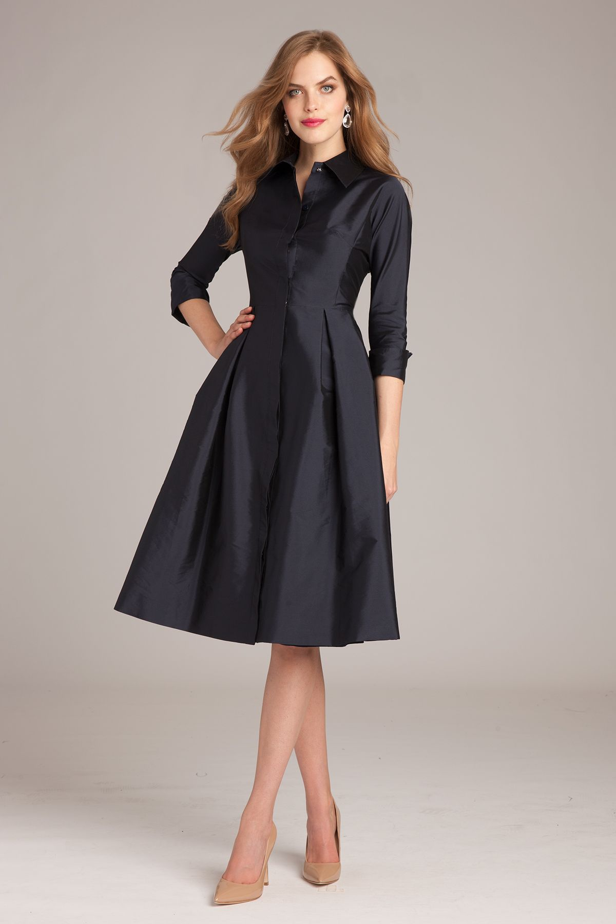 34 Sleeve Belted Taffeta Shirtdress   Tea length dresses