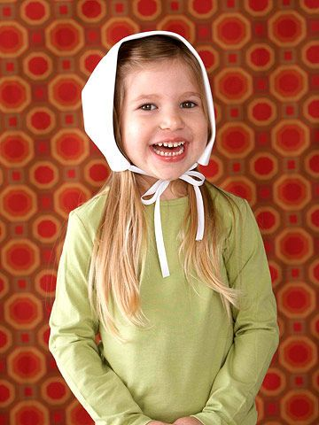 help your little girl dress up like a pilgrim this thanksgiving with a sweet white bonnet made from a single sheet of white crafts foam
