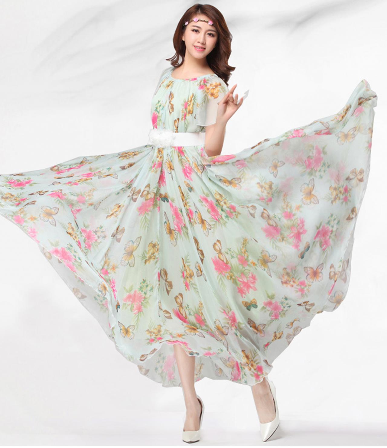 1e81ecc4c8b8 Chiffon Butterfly Sleeves Bridesmaid Holiday Beach Floral Maxi Dress Plus  Size Sundress