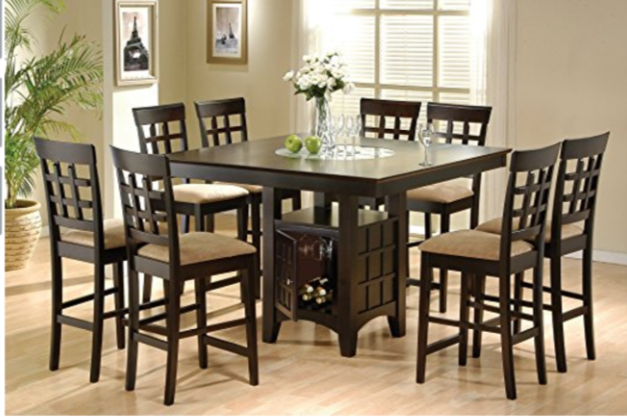 9 Piece Counter Height Storage Dining Table W Lazy Susan Chair