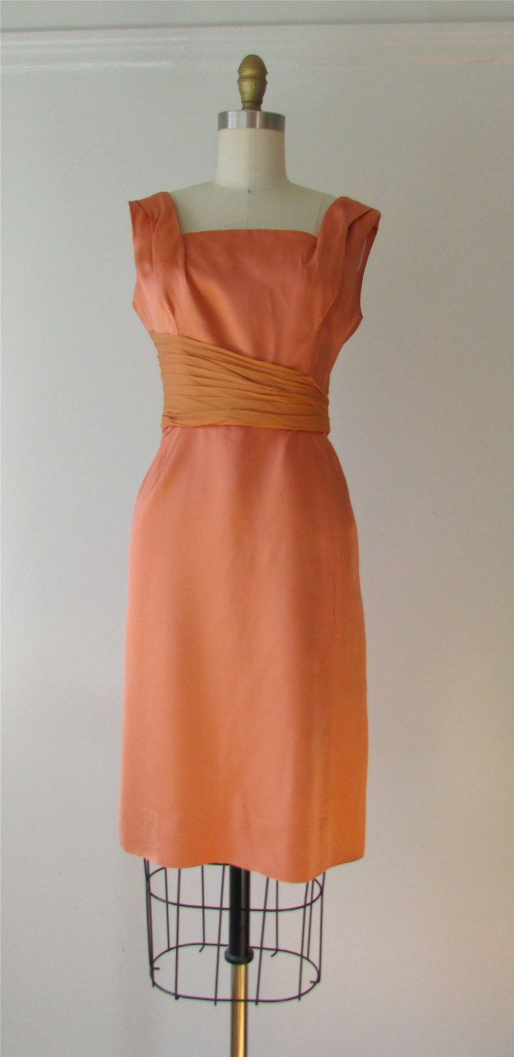 Vintage s dress s dress what a peach by dronning on etsy