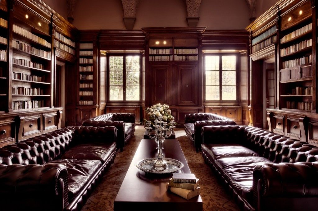 Home Library. Luxury Home Library Design Collections. Brown Color ...
