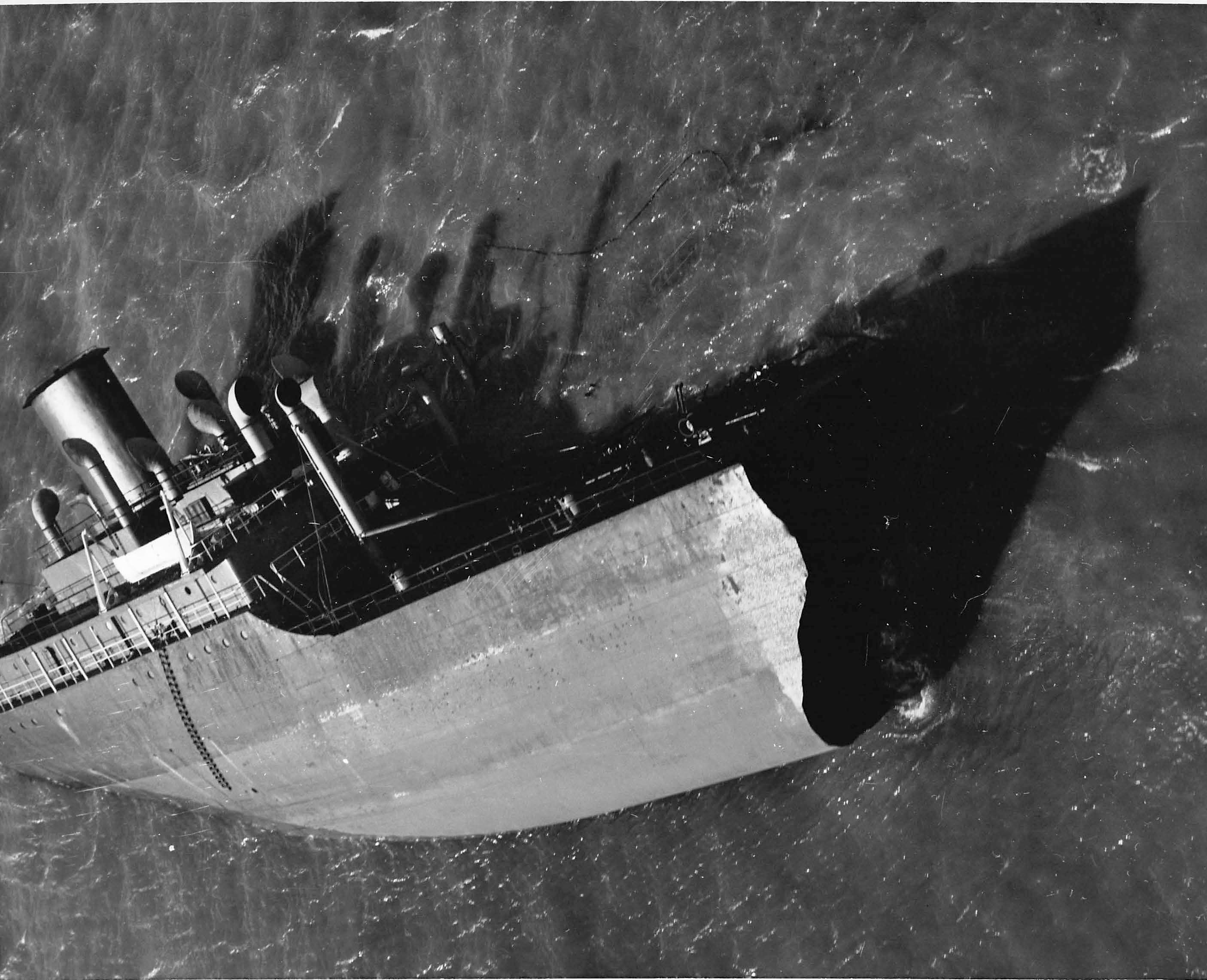 Feb 1952 - The stern of the Pendleton off Chatham, MA  This wreck