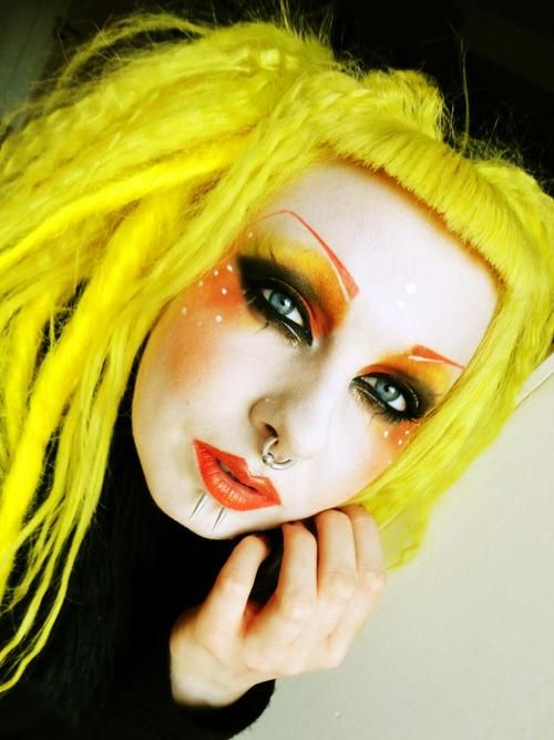 cyber style, yellow hair, make up, cyber goth, hairstyle, piercing