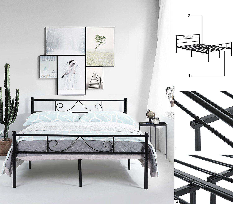 Green Forest Bed Frame Metal Platform With Stable Metal Slats
