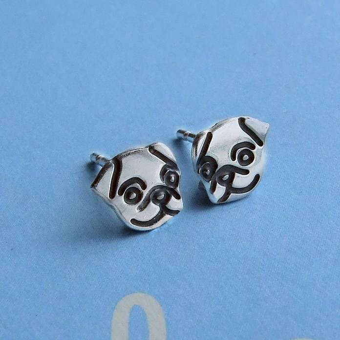Black Pug Earrings - Sterling Silver 9AyRcbpi