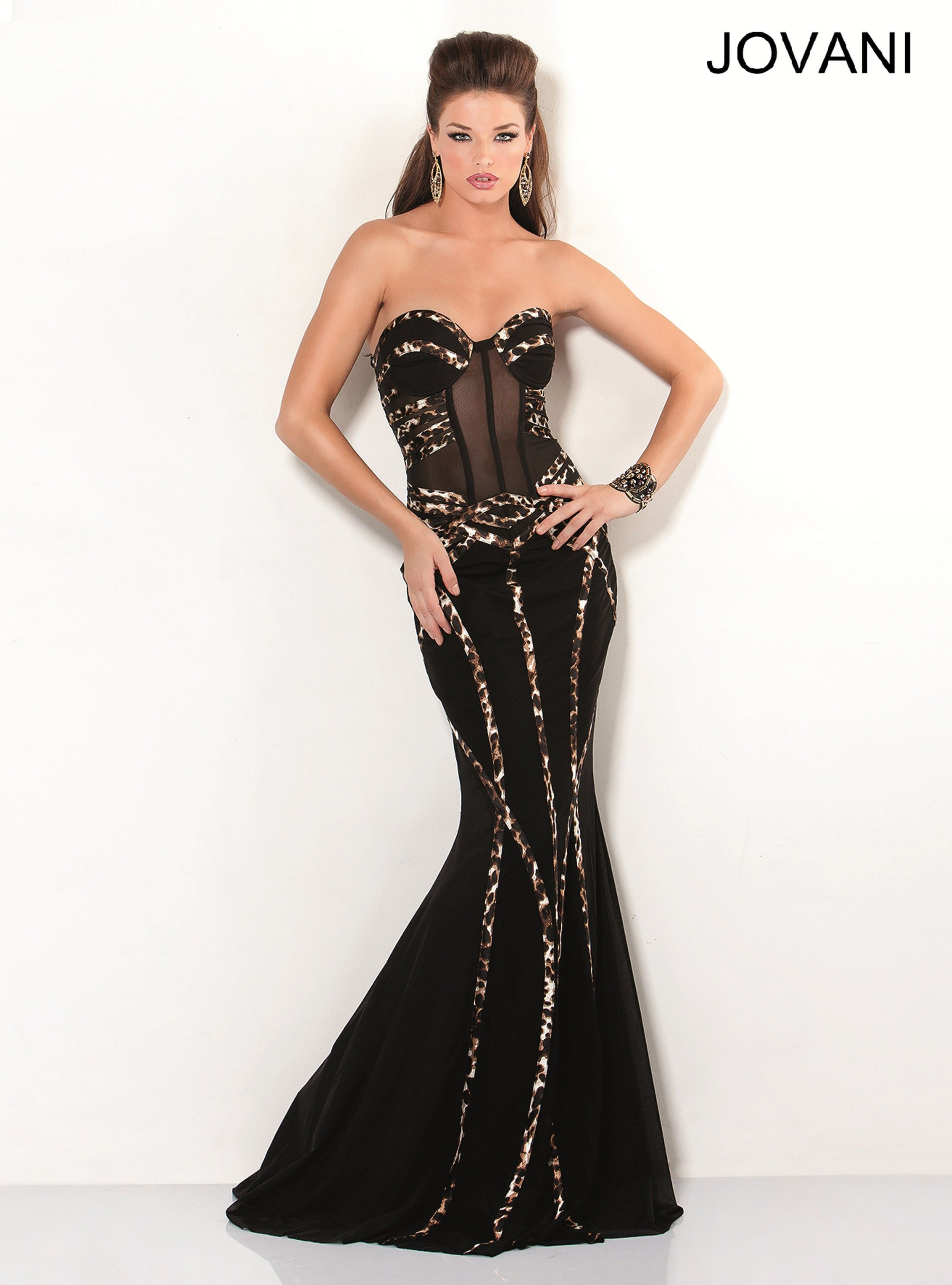 Black Mermaid Strapless Evening Gown with a Sheer Corset Bodice and ...