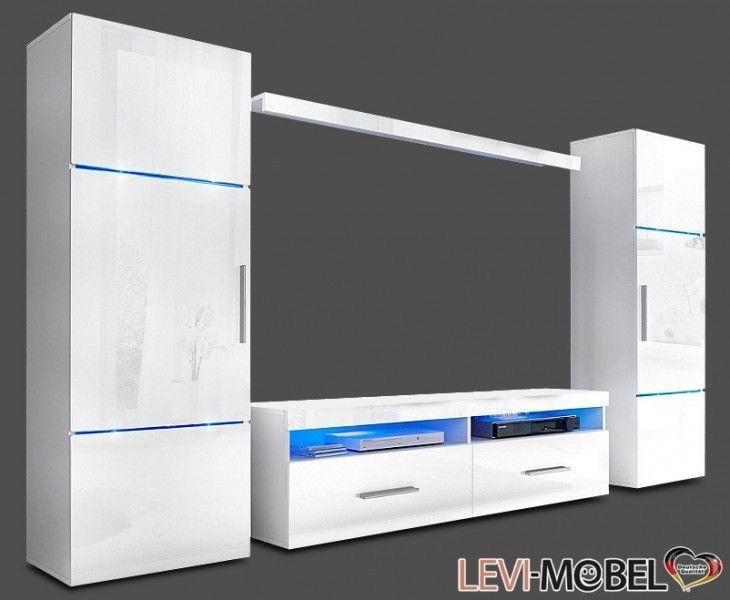 Ebay Angebot WOHNWAND 4-TLG WOHNZIMMER VITRINE LOWBOARD SCHRANK - wohnzimmer vitrine weis hochglanz