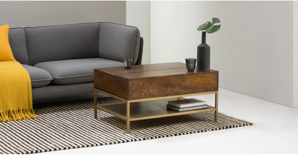 Lomond Lift Top Coffee Table With Storage Mango Wood And Brass Coffee Table Coffee Table With Storage Lift Top Coffee Table