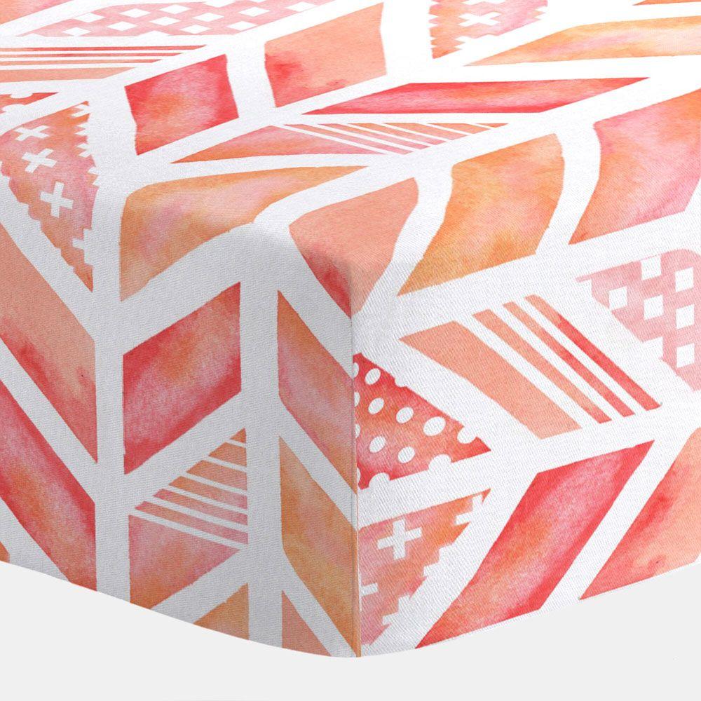 Carousel Designs Coral Watercolor Herringbone Toddler Bed Comforter