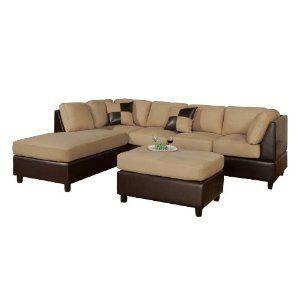 #3: Bobkona Hungtinton Microfiber/Faux Leather 3-Piece Sectional Sofa Set, Hazelnut.