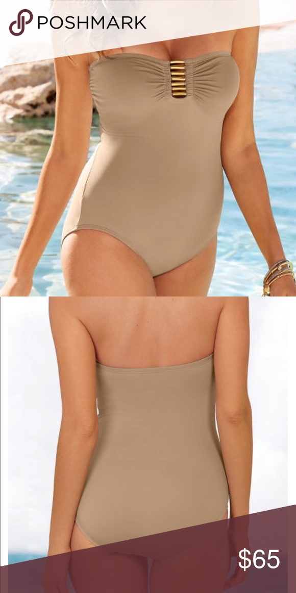 521204ac3bd Lattice Bandeau Swimsuit Gold-tone hardware creates a distinctive lattice  front on this bandeau swimsuit with a shelf bra, soft removable cups and ...
