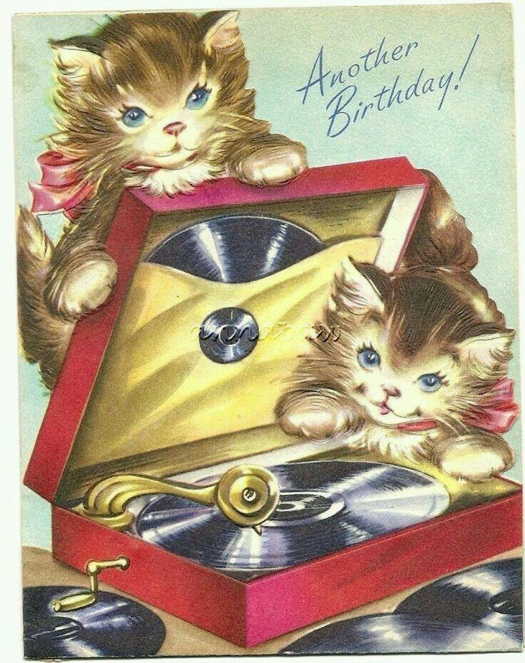 Vintage Kitty Cat Card Vintage Birthday Cards Cat Birthday Vintage Birthday