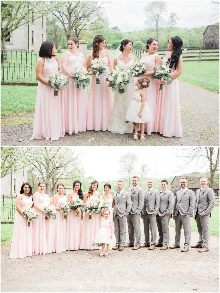 Light pink long dresses in different styles. Farm wedding. Cleveland Wedding. sarahreneestudios