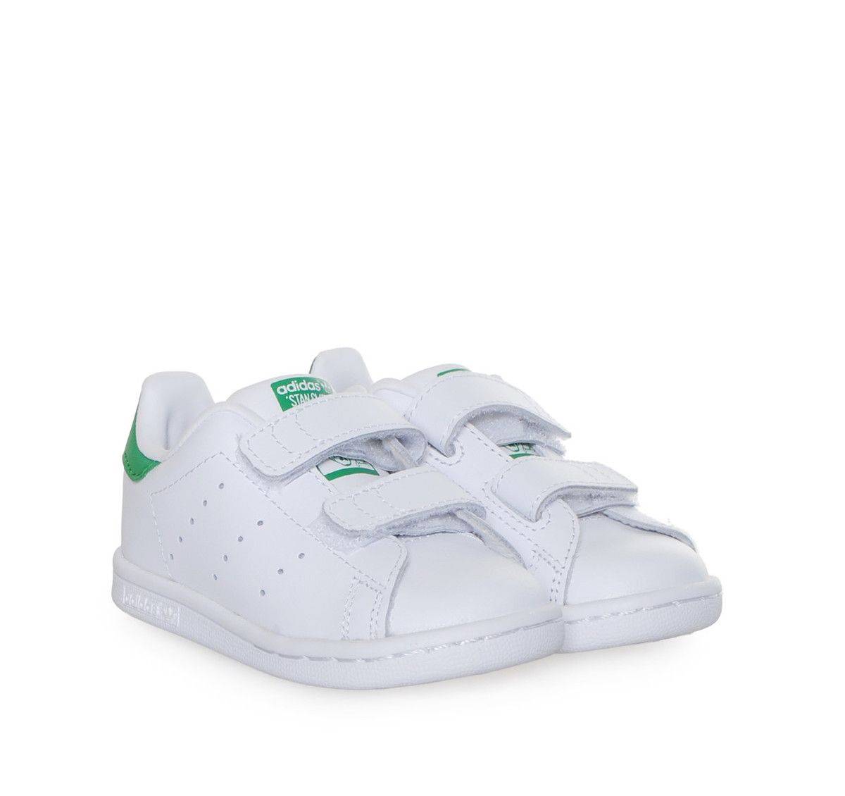 STAN SMITH ADIDAS White/Green Baby Leather Shoes for Boys and Girls with  double scratch