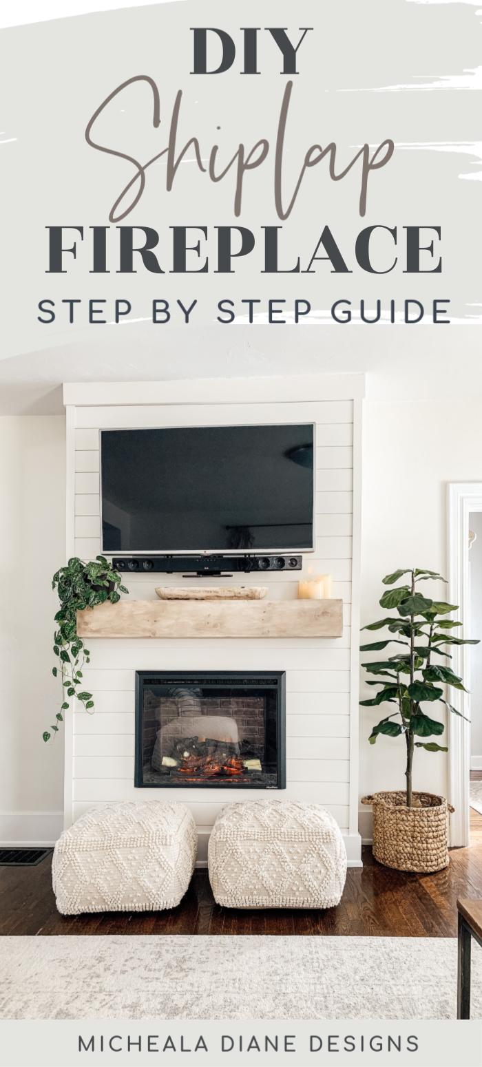 Step by step tutorial DIY shiplap electric fireplace. Fireplace with TV above. DIY fireplace with secret door electronics compartment. DIY Mantel #diyhomedecor #diyprojects #diyfireplace #shiplap #electricfireplace