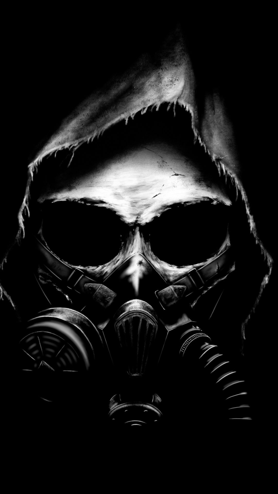 Downaload Apocalyptic, skull, gas mask, dark, art