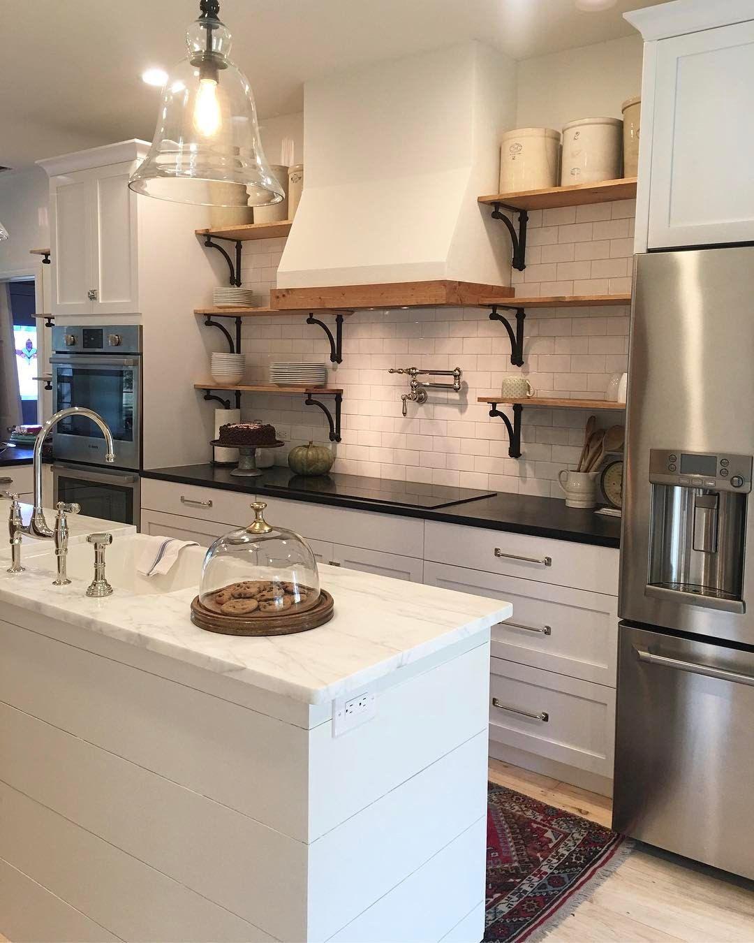 emptypocketsfarmhouse on instagram i just love our remodeled farmhouse kitchen open on farmhouse kitchen open shelves id=83231