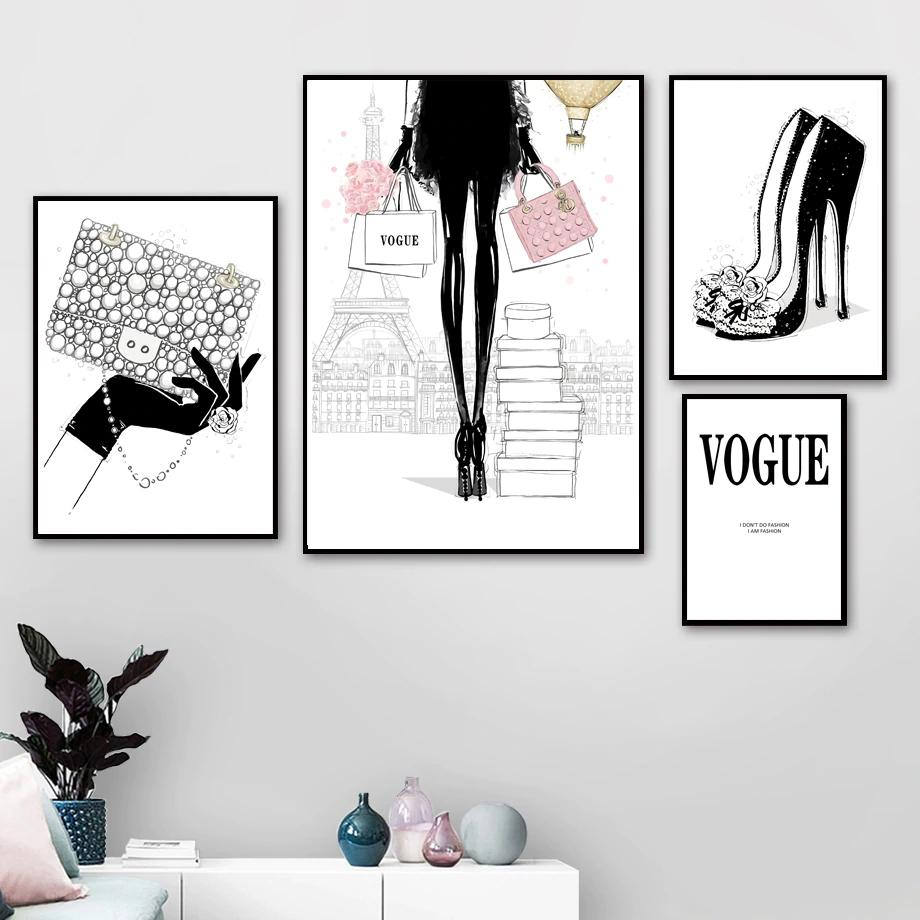 Paris Vogue Fashion Handbag Heels And Glamour Wall Art Fine Art Canvas Prints Nordicwallart Com Fashion Wall Art Girls Wall Art Wall Art Pictures