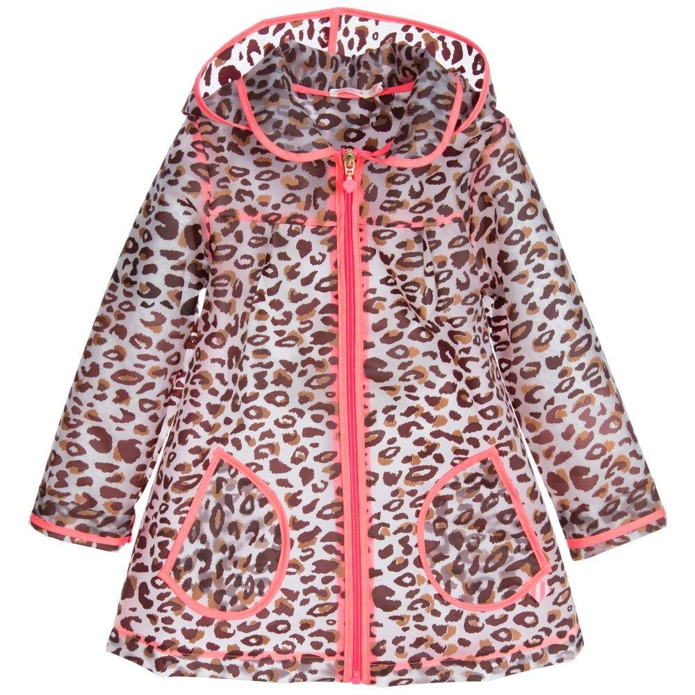 3b65897524aa Billieblush - Girls Transparent Leopard Print Raincoat ...