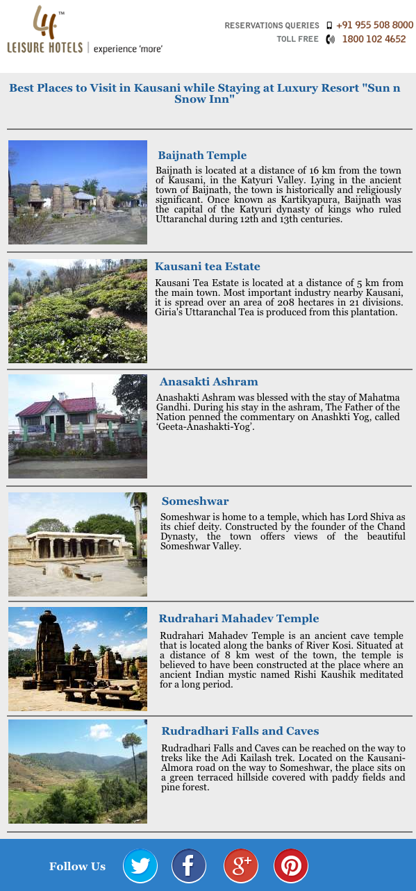 Best Places to Visit in Kausani while Staying at Luxury Resort Sun n Snow Inn