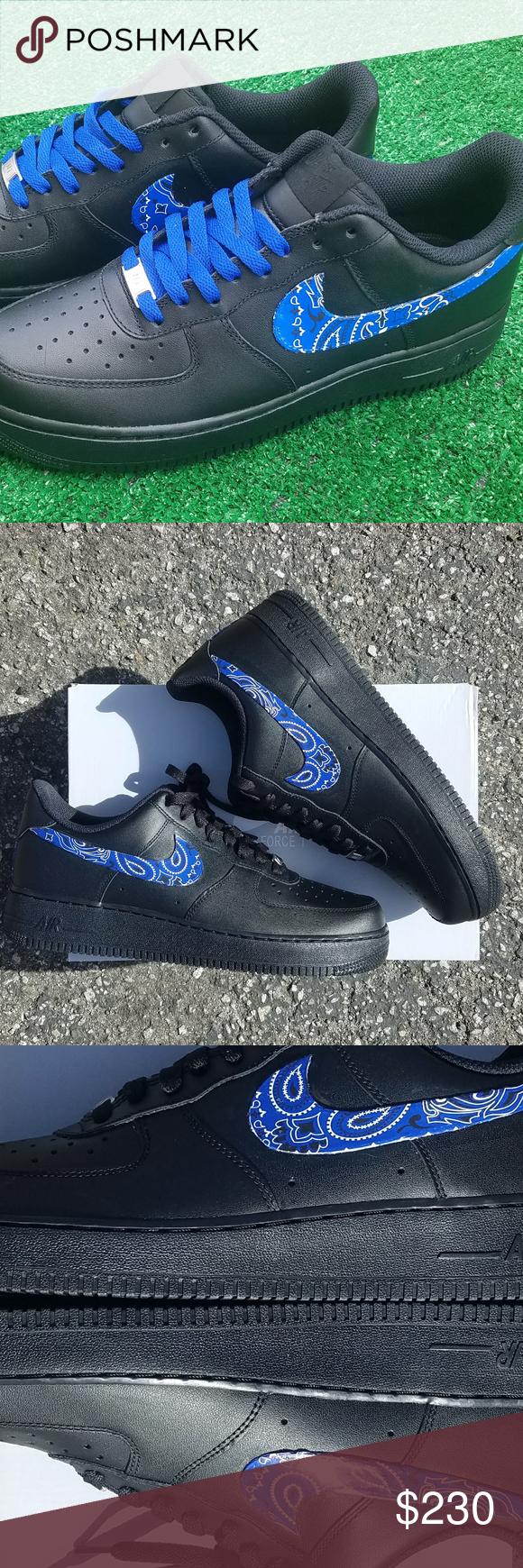 Customized Nike Sneakers Unisex Black Bandana Authentic Nike