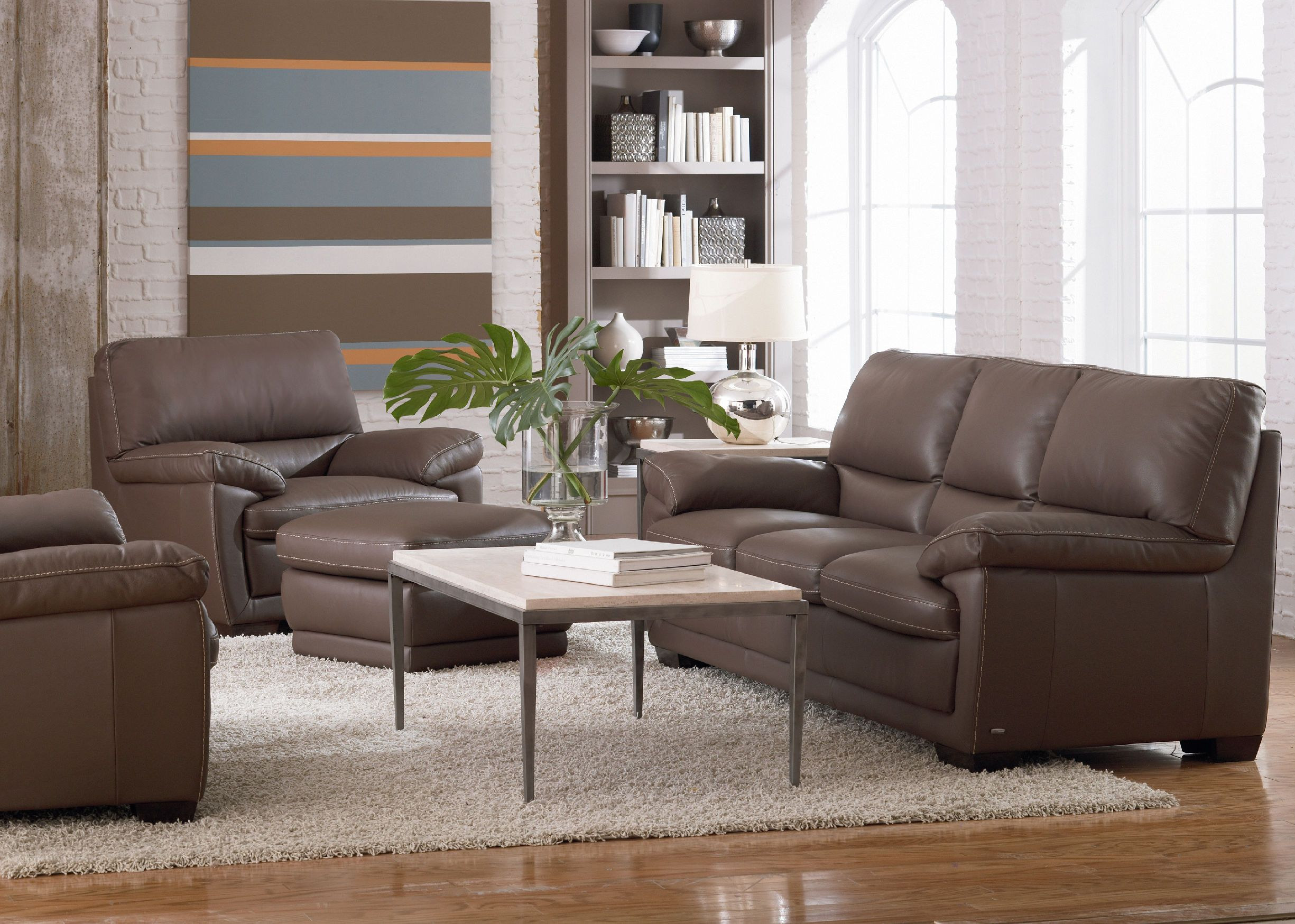Denver Leather Sofa   DARK TAUPE ST:341188