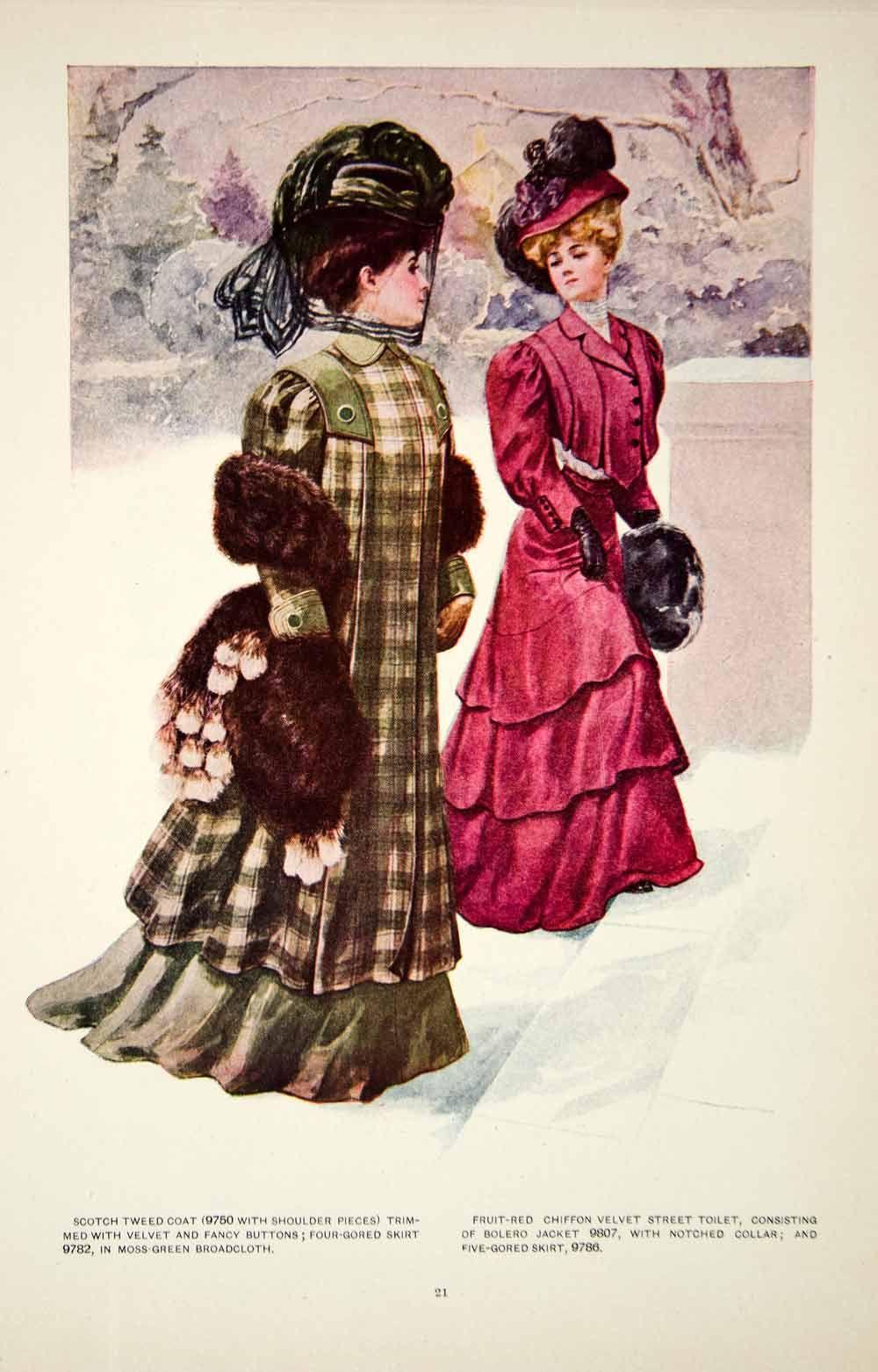 c1bff90144d 1907 Color Print Fashion Costume Clothing Dress Edwardian Women Hat ...