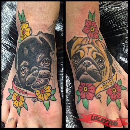 Yoda Boss Foot Pug Tattoo On Kp By Leonie New At Voodoo Ink In St