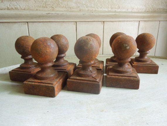 Vintage Cast Iron Fence Post Finials Cast Iron By Frenchtwine 12 00 Cast Iron Fence Iron Fence Cast Iron Decor