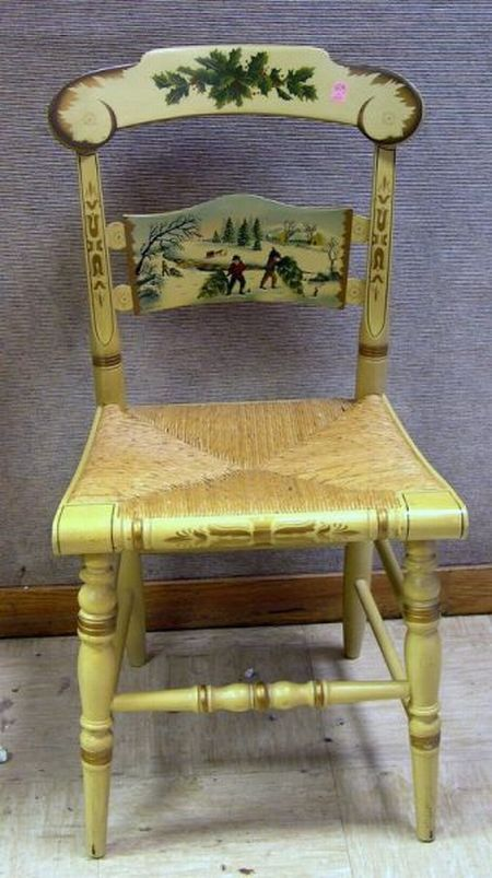 1810 High Quality Materials Antique Slat Back Rush Seat Hand Painted & Stenciled Ct Farmhouse Chair C Furniture