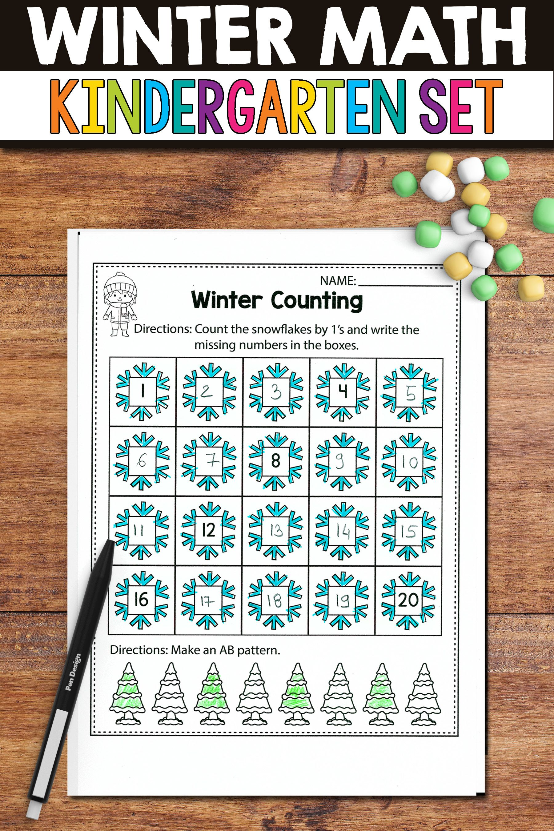 Winter Activities For Kindergarten Math No Prep