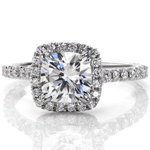 A Perfect 4ct Cushion Cut Halo Russian Lab Diamond Engagement Ring