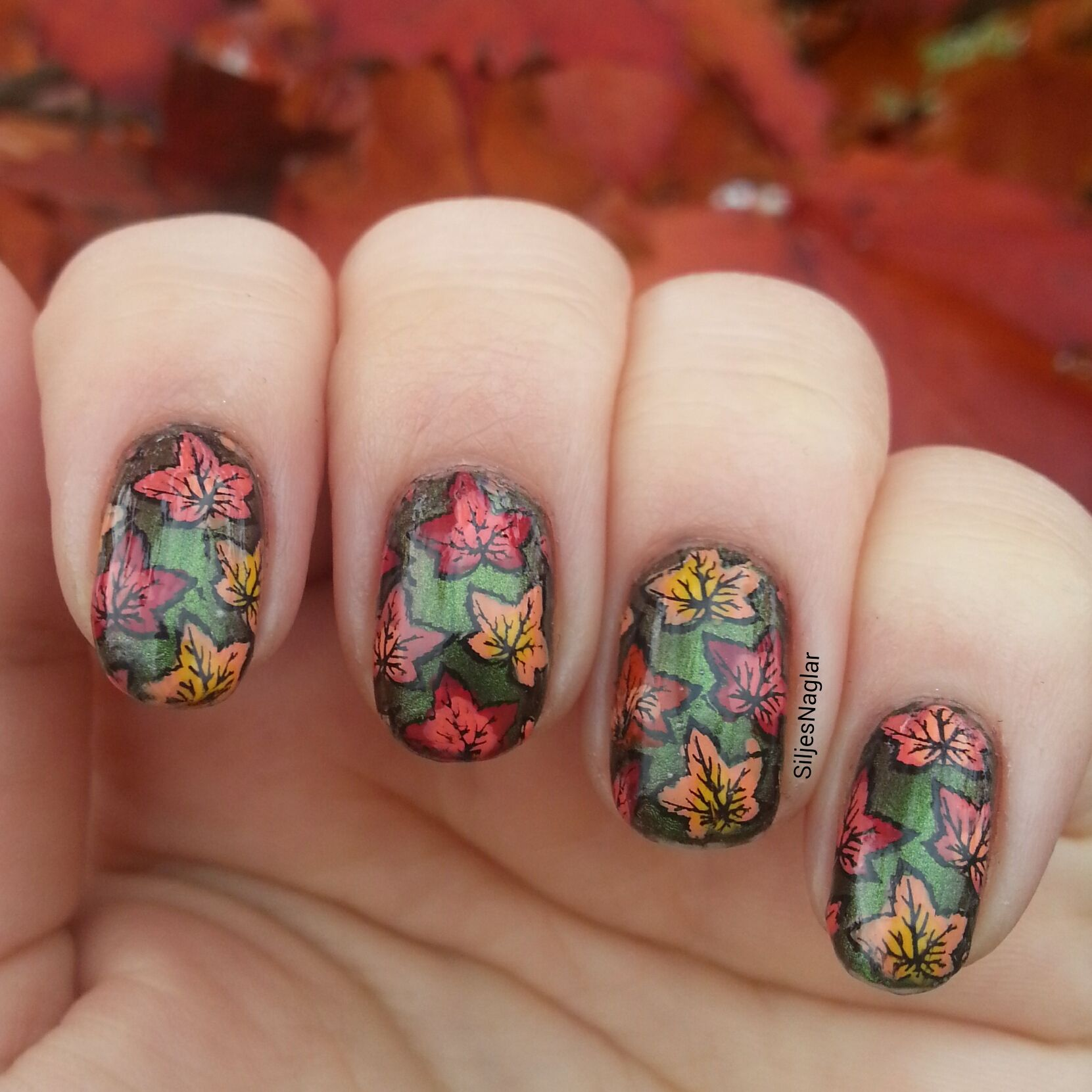 Autum leaf nails Multi Colored nail stamping Autum nails Polish