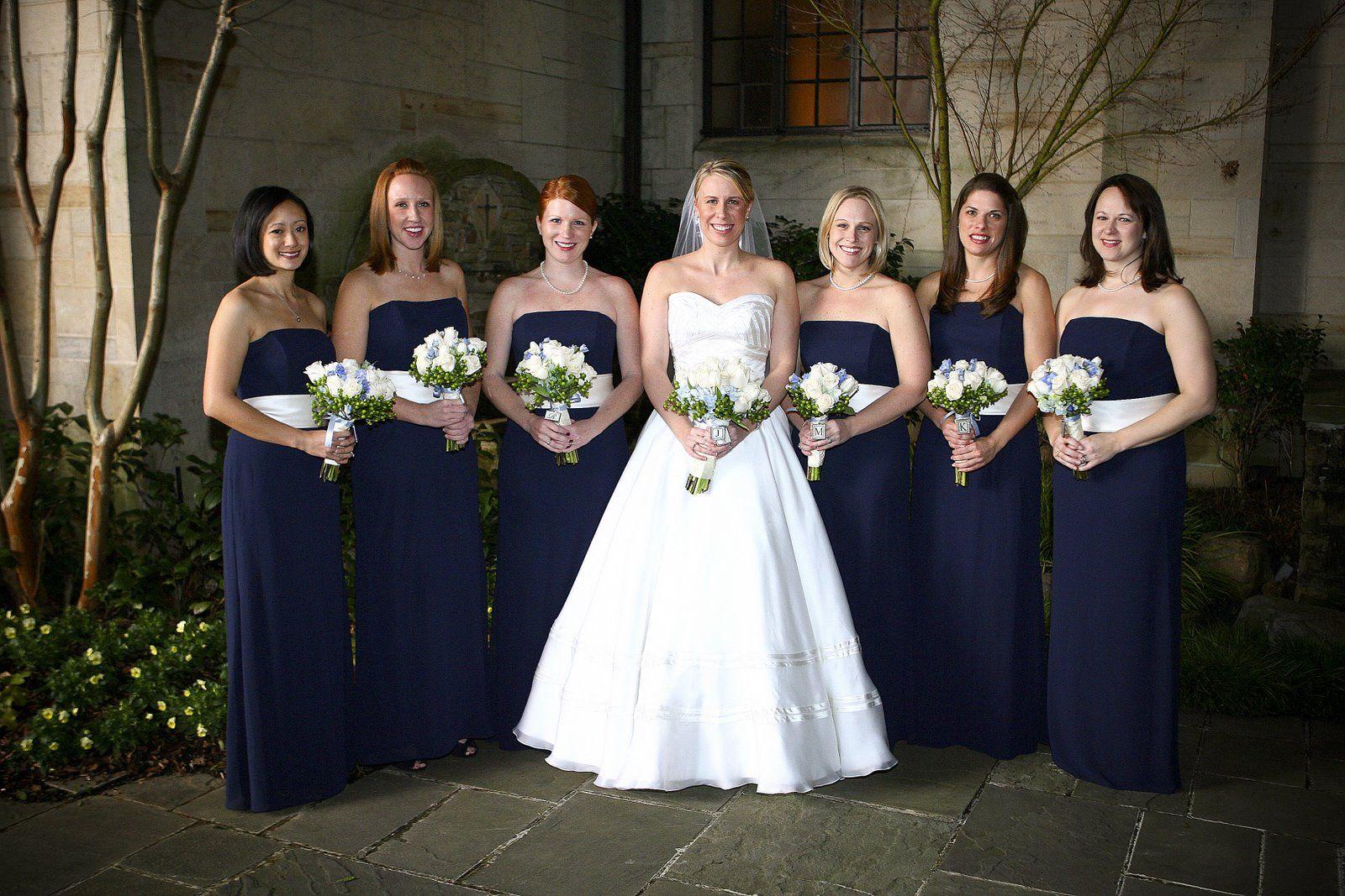 Wedding dresses department stores  Navy and Ivory Bridesmaid Dresses  Nicholeus Wedding  Pinterest