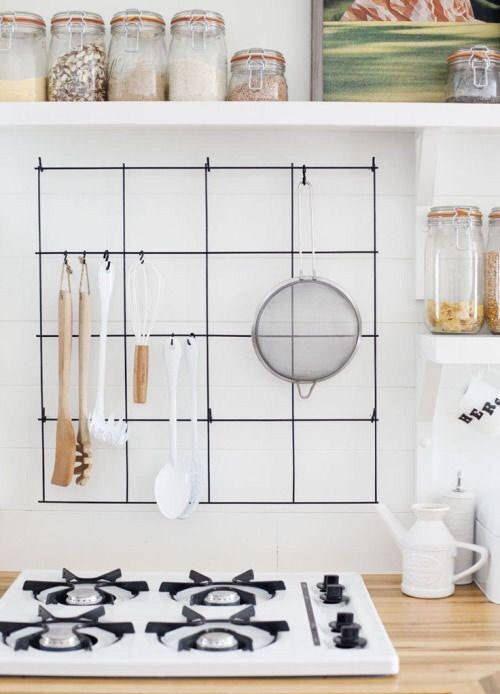 Kitchen Utensil Holder Organizer Tool Black Memoboard Wire Wall Grid Mesh M