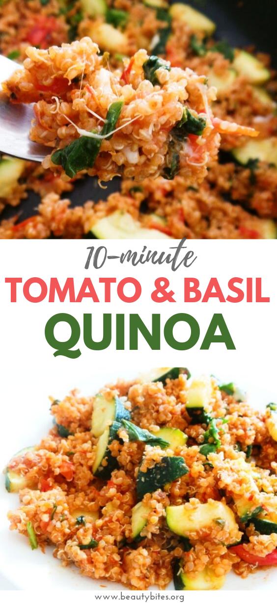 Photo of Easy Tomato & Basil Quinoa Risotto – GF, Vegetarian/Vegan Option – Beauty Bites