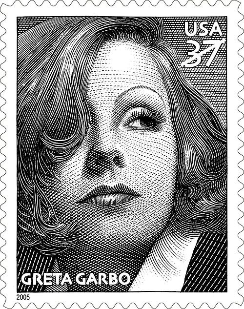 Greta Garbo - In 2005, the U.S. Postal Service commemorated the 100th anniversary of her birth with joint issue stamp with Sweden Post.
