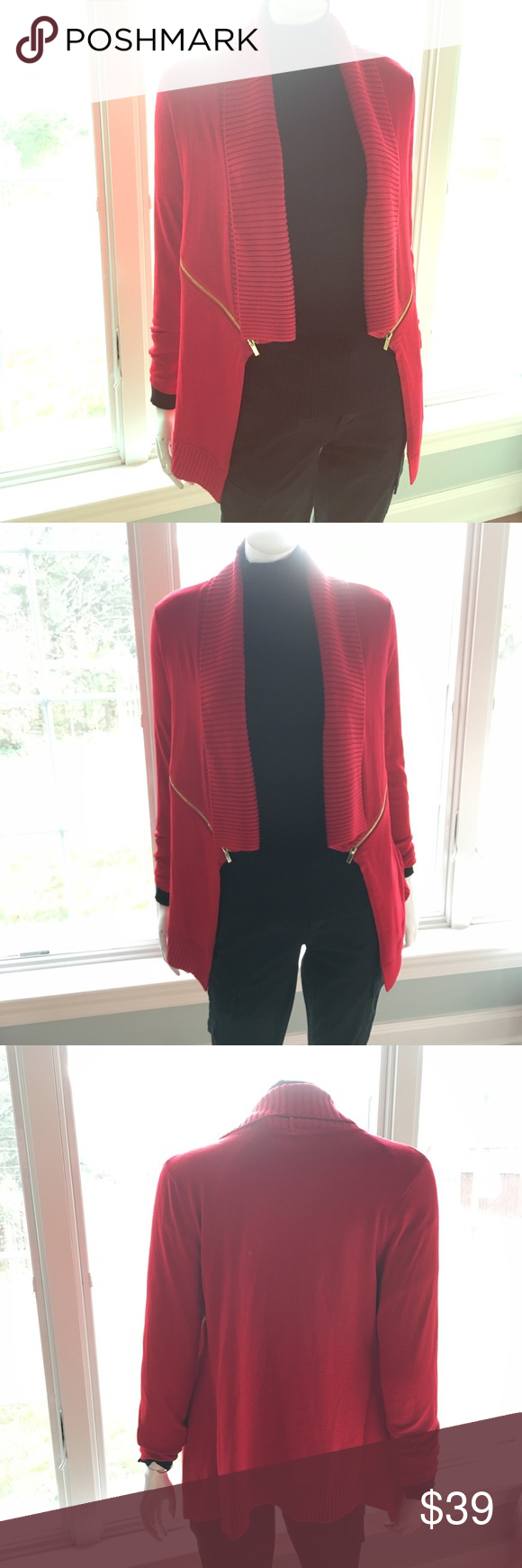 NEW INC red gold knit warm sweater cardigan M New with tags. Rayon, acrylic, nylon blend. Soft touch. Long sleeves. Golden zip details are functional. LC0550 INC International Concepts Sweaters Cardigans