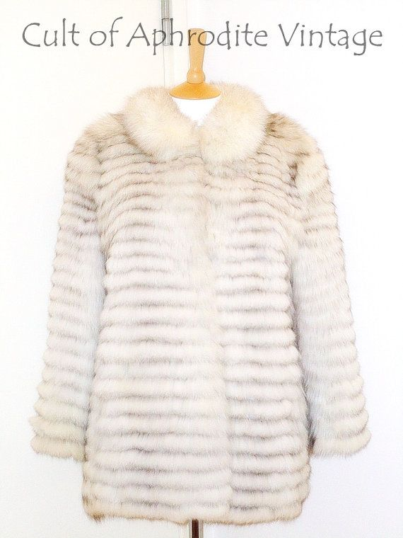 Vintage 80s Norwegian Blue Fox Fur Feathered by CultofAphrodite, $430.99