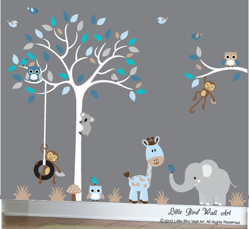 baby boy wall decal nursery white treelittlebirdwalldecals