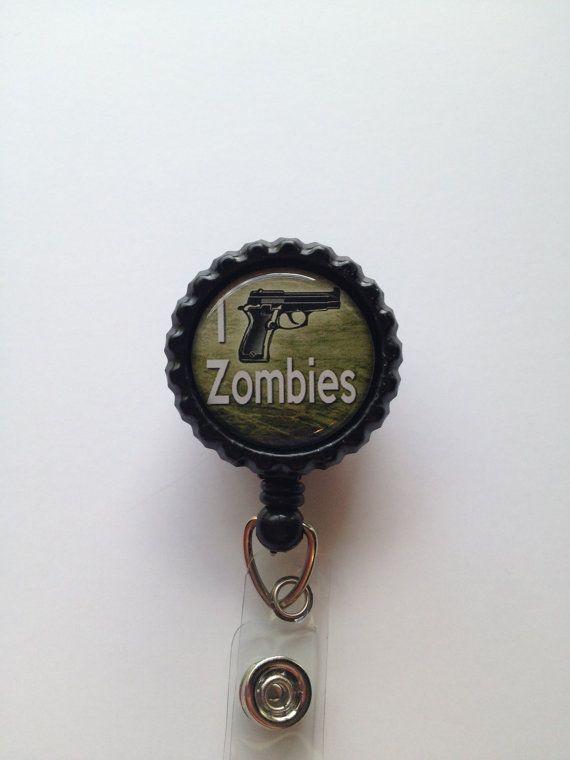 I Kill Zombies Black Bottle Cap Retractable Badge Reel via Etsy $7.50 plus shipping