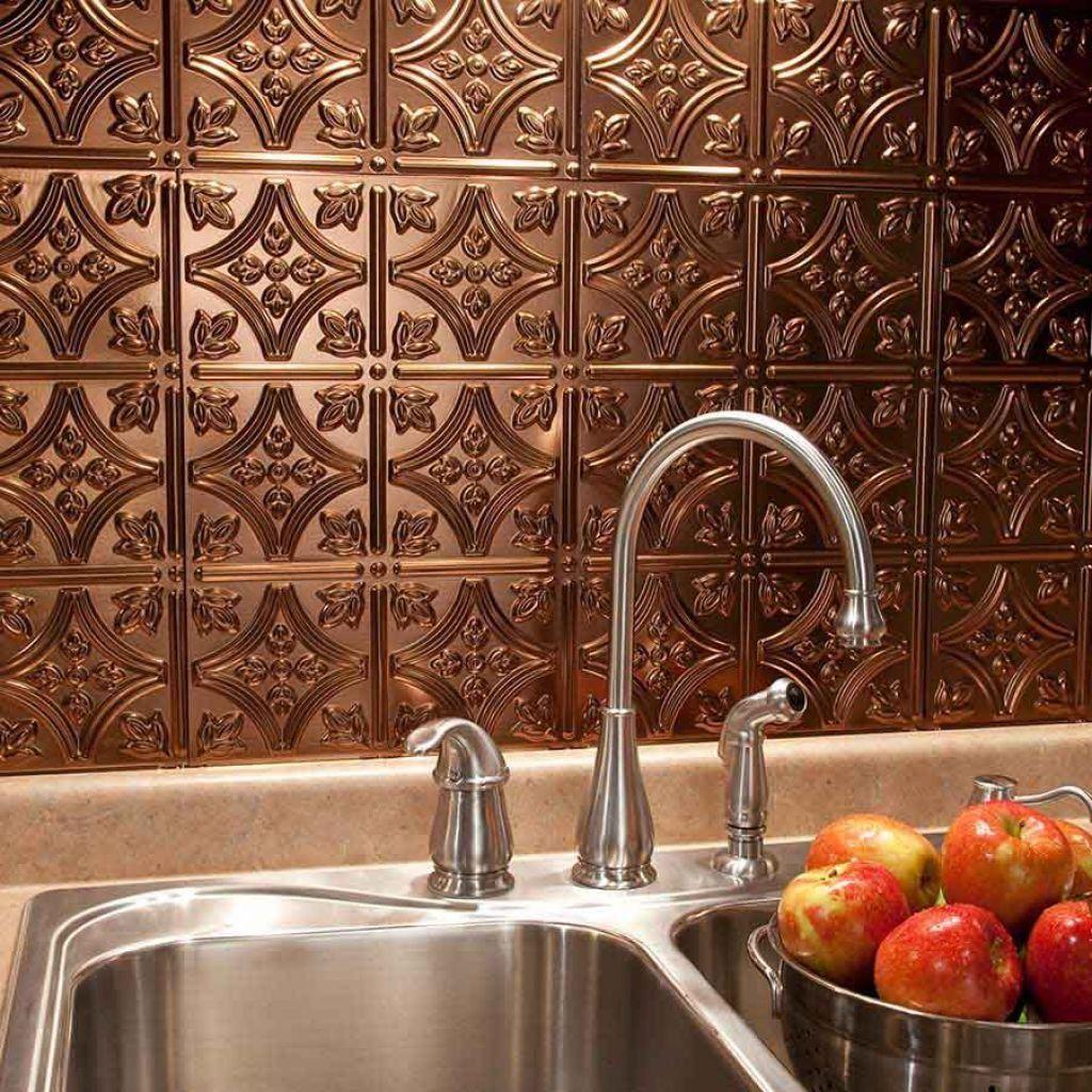 - Kitchen Faux Backsplashes Metallic Backsplash