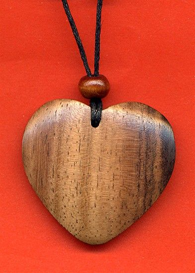 Wooden Heart Necklace Wooden Hearts Wooden Jewelry Hand Carved Jewelry