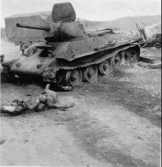 T-34 tank with dead crew - pin by Paolo Marzioli