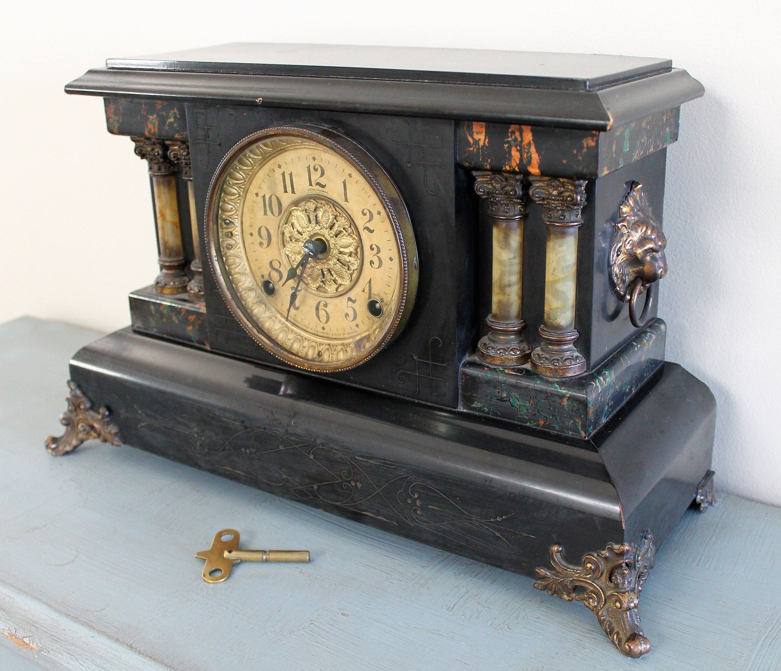 Antique Working Seth Thomas Adamantine Mantel Clock With Key