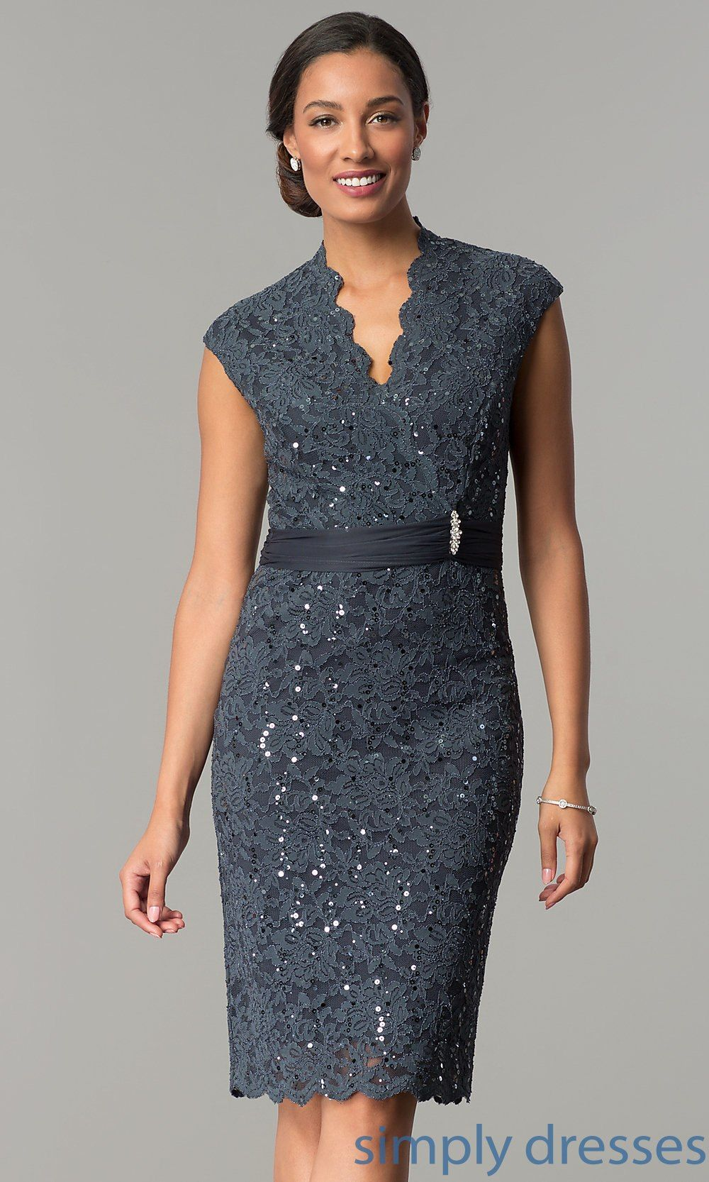 Shop sequin-lace short wedding-guest dresses under  100 at Simply Dresses.  Semi-formal knee-length v-neck party dresses with removable brooches. f972b14f5