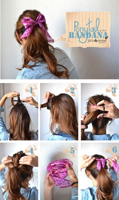 Make Ponytail With Bandana Hairstyles Tutorial Hair Styles Hair Looks Long Hair Styles