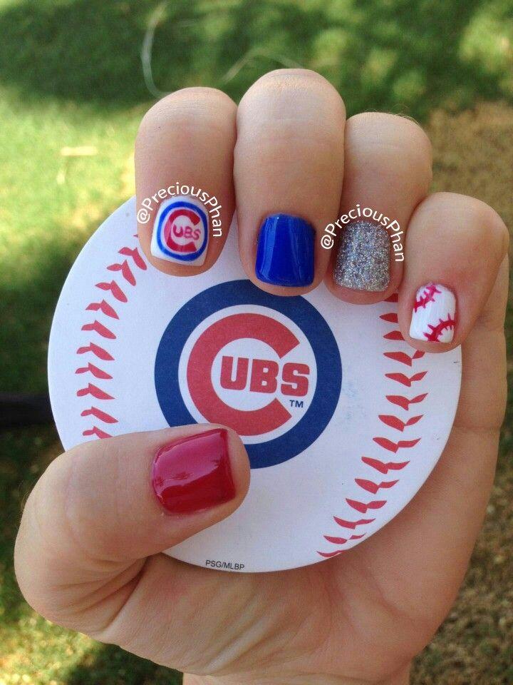Chicago Cubs, baseball fan, nails | Precious Phan♥ | Pinterest ...
