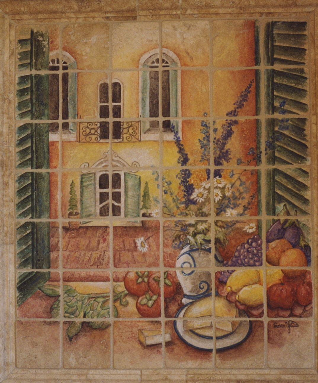 Italian Tiles Hand Painted Italian Courtyard Tile Mural
